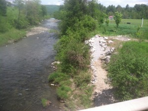 Taken from Nasmith Brook Road on the bridge where it intersects Route 2, the new public access slopes gradually downstream to the rivers edge.