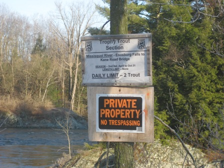 Enosburg Falls fishing access to Trophy Trout river currently posted